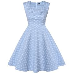 Audrey Hepburn Style Polka Dot Printed Dress Retro 50s Sleeveless... ($32) ❤ liked on Polyvore featuring dresses, vintage style dresses, night out dresses, blue dress, blue midi dress and blue sleeveless dress