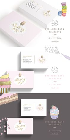Introducing this beautiful Bakery Shop Business Card template, perfect for use in your next project or for your own brand identity. Bakery Slogans, Bakery Branding, Bakery Logo Design, Branding Design, Cupcake Logo, Cupcake Shops, Baking Business Cards, Web Design, Bussiness Card