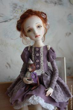 Мамина дочка - сиреневый,рыжая девочка,рыжая кукла,авторская кукла,кукла ручной работы