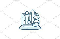 Vector Website, Report Design, Marketing, Line Icon, Illustration, Concept, Illustrations