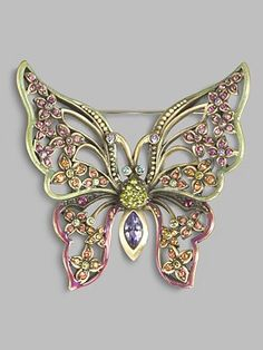 Jay Strongwater Floral Butterfly Pin    An absolutely stunning heirloom piece that flutters about the lapel or sweater, beautifully handcrafted in brass ox-plated pewter with Swarovski crystal embellishment.