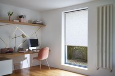 Metallic lines, luxe velvets and a geometric Roller blind lift the style rating of this all white home office Roller Blinds, White Houses, All White, Home Office, Metallic, It Is Finished, House Design, Flooring, Nice