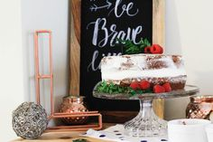Cake Display from a Rustic Navy + Copper Baby Shower / Tea Party via Kara's Party Ideas | KarasPartyIdeas.com (30)