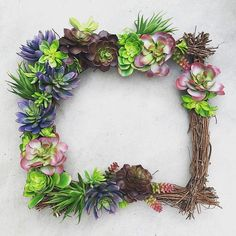 handmade square grapevine wreath succulent by thewoodandthistle