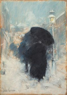 A New York Blizzard, probably 1890, Childe Hassam, American, 1859-1935, Pastel on grey paper, 35 x 24 cm