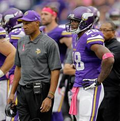 5538e6f72 Minnesota Vikings head coach Leslie Frazier and running back Adrian Peterson