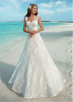 Cheap bridal gown, Buy Quality summer beach weddings directly from China wedding dress vintage Suppliers: 2017 Summer Beach Wedding Dresses Vintage Full Lace Lace Up Back Formal Bridal Gowns With Cap Sleeves 2017 New Style Cheap Wedding Dress, Dream Wedding Dresses, Bridal Dresses, Wedding Gowns, Bridesmaid Dresses, Lace Wedding, Elegant Wedding, 2017 Wedding, Crystal Wedding