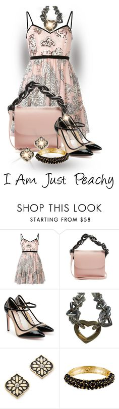 """""""Coral and Peach Contest"""" by shamrockclover ❤ liked on Polyvore featuring Manoush, Marques'Almeida, Salvatore Ferragamo, Tiffany & Co., Kate Spade and Kenneth Jay Lane"""