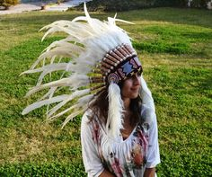 Indian White Feather Headdress / Warbonnet. $59  www.theworldoffeathers.com