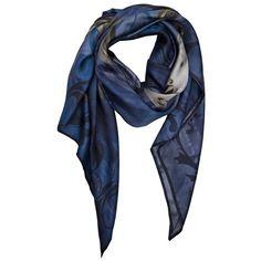 JUMA J-SCAR23F10-U BLUE/TAUPE SILK SILK SCARF ($175) ❤ liked on Polyvore