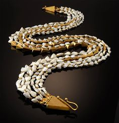 """Double Long Strand Pearl Necklace - """"Double Long Strand Pearl Necklace"""" Natural American White Pearls, Aquamarine, Tourmaline, Diamond Clasp and Gold Beads; by Vicki Eisenfeld"""