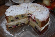 Lemon Blueberry Marscapone Cake (via @farmcityvintage who sweats it is worth making)