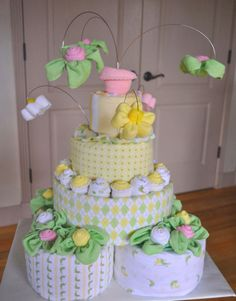 This one has more dimension. diaper cake from TopsyTurvyDiaperCakes