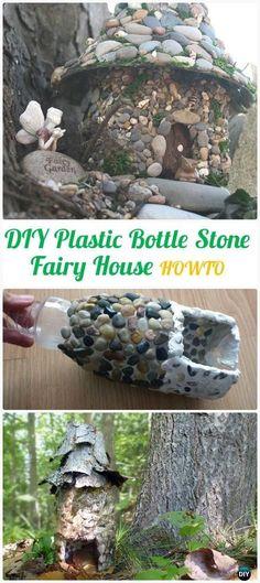 DIY Plastic Bottle Stone Fairy House Instructions - DIY Plastic Bottle Garden Projects & Ideas