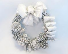Pure Silver Grapevine Wreath with Pinecones and by morebrightideas