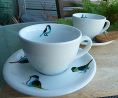 Hand Painted Tea Cup: Marching Birds - by Hello Bluebird on Folksy