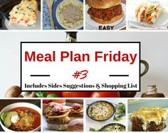 Ease Meal Plan #3, complete with Side suggestions, Dessert & Printable!