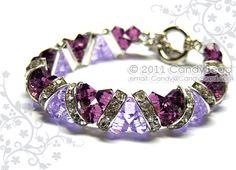 Swarovski Bracelet Purple Amethyst Crystal Cuff by candybead, $20.00