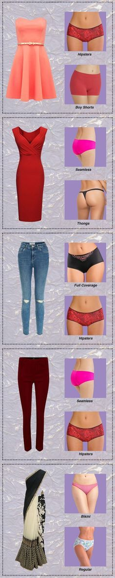 How to wear right type of panties with different styles? ¿Cómo usar la ropa interior adecuada con diferentes estilos de ropa?