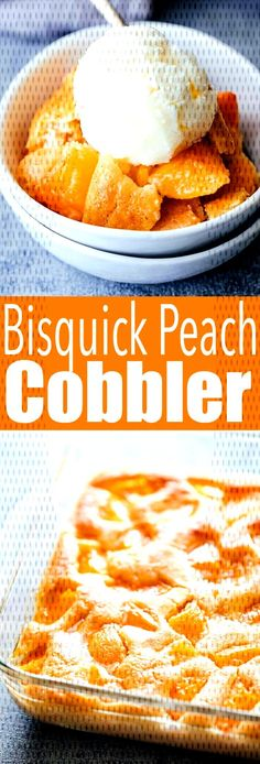 Deliciously easy to make Bisquick Peach Cobbler, a quick cobbler made wit. Peach Cobbler With Bisquick, Coconut Rice, Dessert Recipes, Desserts, Pancake, Meals, Breakfast, Healthy, Disappointed