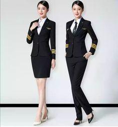 Girl Next Door Fashion. Air Hostess Uniform, Pilot Uniform, Airline Uniforms, Female Pilot, Girls Uniforms, Flight Attendant, Girl Next Door, Wearing Black, Korean Fashion