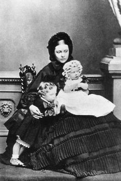 Vicky, while Crown Princess of Prussia, with her two eldest children, Prince Wilhelm, later Kaiser Wilhelm II, and Princess Charlotte.  Charlotte would later give birth to Queen Victoria's 1st great-grandchild, Feodora.