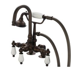 Water Creation Vintage Classic F6-0013 Deck Mount Tub Faucet with Gooseneck Spout - F6-0013-03-PL
