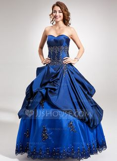 [US$ 198.69] Ball-Gown Sweetheart Floor-Length Taffeta Quinceanera Dress With Beading Appliques Lace Sequins (021016374)