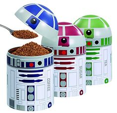 Star Wars Home Kitchen Storage Set (3 Pack). The is a great three-pack Droid storage set. You can put anything you can think of that needs storing.