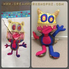 Hi little monster! Enjoy your play ~ . For Leo #kids #art #drawing #dolls  #handmade #craft #play #toy #dolls  #dreamworkshopnz.com