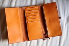 Hand Stitched Light Brown Leather Long Wallet. $125.00, via Etsy.