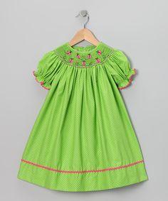 Green Ladybug Bishop Dress - Infant & Toddler