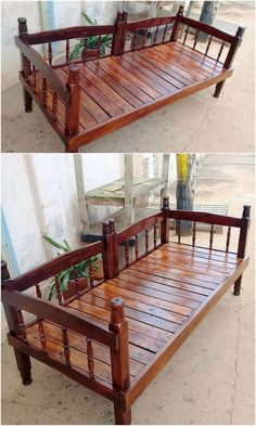 If you are fond of putting garden furniture in a classy way outside your house, then do bring extra classiness in the furniture view, through the availing effect of the pallet unique bench coverage over it. It adds a beauty impact in the whole creative idea! See the image we shared!