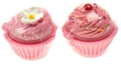 Set 6 Cupcake Shaped Lip Balm Strawberry Icing Sprinkles Cherry Flower Colored #DessertLipGloss