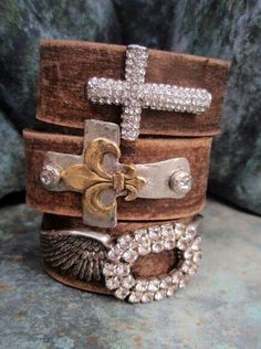 Love cuff leather bracelet