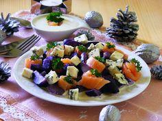 Makacska konyhája: Lila krumpli saláta Fruit Salad, Food, Fruit Salads, Eten, Meals, Diet