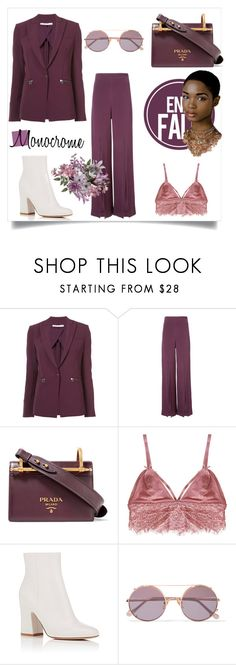 """""""Monocrome"""" by amaiba ❤ liked on Polyvore featuring Veronica Beard, Cushnie Et Ochs, Prada, Humble Chic, Gianvito Rossi and Sunday Somewhere"""