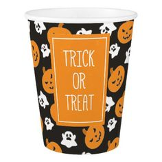 Halloween Trick or Treat Cute Ghosts & Pumpkins Paper Cup - kids kid child gift idea diy personalize design