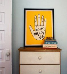 screenprinted poster: have mercy hand. $25.00, via Etsy.