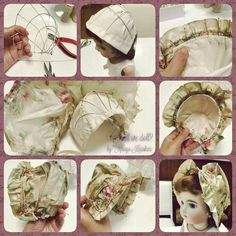 maybe doll hat Girl Doll Clothes, Doll Clothes Patterns, Doll Patterns, Antique Dolls, Vintage Dolls, Couture Main, Victorian Hats, Baby Bonnets, Sewing Dolls