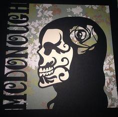 2 Sugar Skull Cut Paper Art  12x12 Unframed  Day of the Dead by MinksPaperie, $50.00