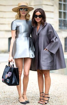 Stylish sunglasses are Trending at Fall Winter 2014 Paris Haute Couture Fashion Week Street Style. The Stylish Russian Metallica BFFs: Elena Perminova and Miroslava Duma wearing statement sunnies and metallic dresses during #FW14 #couture fashion week.