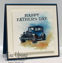 Stampin' Up! Guy Greetings stamp set. Watercolored Father's Day card. Handmade card with blue classic car. Lisa Young, Add Ink and Stamp