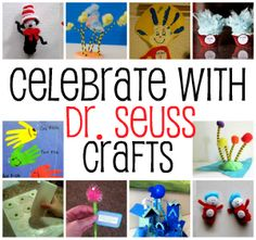 Dr Seuss Crafts to do with your kids - 12 fun ones! Might be too young for our kids but we can adapt some KD these