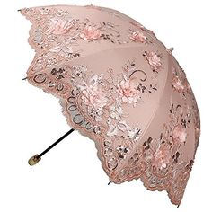 Sunny World Ladies UV Protected Parasol Two Folding Anti-UV Sun Umbrella Fashion Lace Embroidery Flowers (Pink) Lace Umbrella, Vintage Umbrella, Folding Umbrella, Under My Umbrella, Cool Umbrellas, Umbrellas Parasols, Embroidery 3d, Pretty In Pink, Vintage Outfits