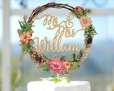 Personalized Wedding Cake Topper with Name, Wood Cake Topper Printed with Floral Wreath Personalisierte Hochzeitstorte Topper mit Namen, Holz Cake Topper mit Blumenkranz bedruckt # 150 Wood Wedding Cakes, Wedding Cake Fresh Flowers, Floral Wedding Cakes, Wedding Cake Decorations, Floral Cake, Wedding Favors, Wedding Ceremony, Wedding Ideas, Party Wedding