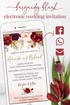 If you are Looking for a unique wedding invitation idea for your big day check out our marsala and blush wedding invitation. Share your electronic wedding invitation via phone txt, WhatsApp, email or social media.Pin this   click through to order yours! #savethedate #floralwedding #blushwedding #navywedding  #weddingstationary #burgundywedding