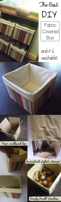 Best DIY Fabric Boxes - Sew Modern Bags Fabric covered boxes with removable covers. Quick, cheap, easy storage ideas using a regular cardboard box.Fabric covered boxes with removable covers. Quick, cheap, easy storage ideas using a regular cardboard box. Diy Storage Boxes, Storage Ideas, Easy Storage, Tool Storage, Craft Storage, Storage Baskets, Diaper Box Storage, Decorative Storage Boxes, Storage Spaces