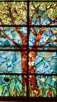 Stained glass mosaic tree window by Chanda Froehle. More at…