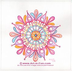 How to draw a mandala, plus link to coloring pages and polar graph paper